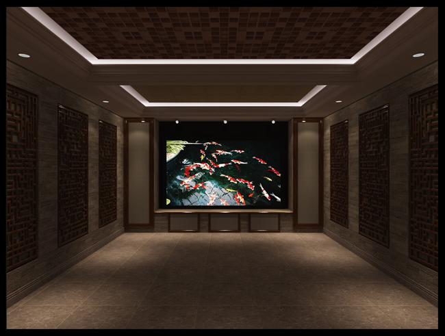 黄金水岸中式私人影院-家庭影院 家庭影院设计-室内声学网